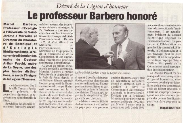 Article sur le professeur Marcel Barbéro