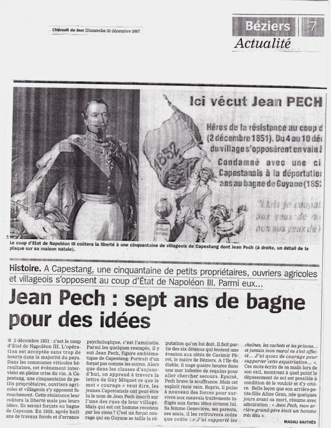 """Article intitulé """"Jean Pech, sept ans de bagne pour des idées"""""""